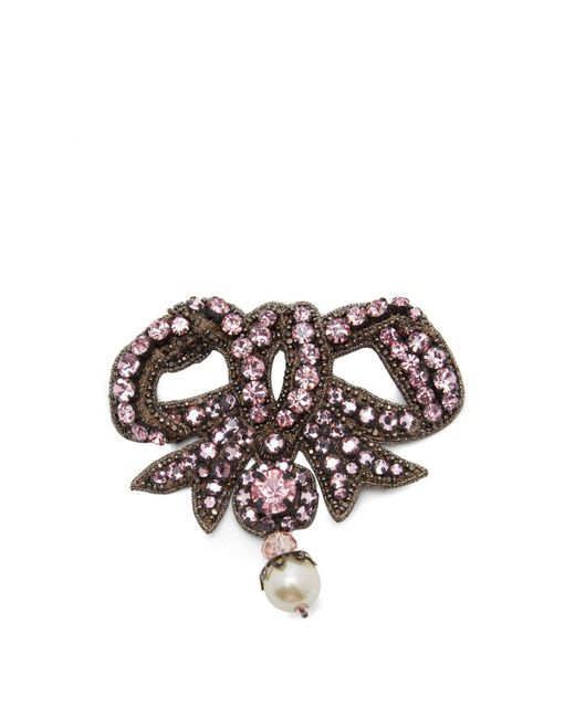 Gucci - Pink Bow Crystal Embellished Brooch - Lyst