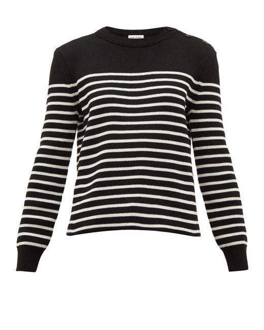 Saint Laurent Black Breton Stripe Cotton Blend Sweater