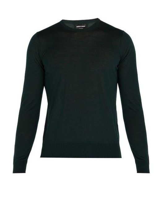 Giorgio Armani - Green Fine Knit Wool Sweater for Men - Lyst