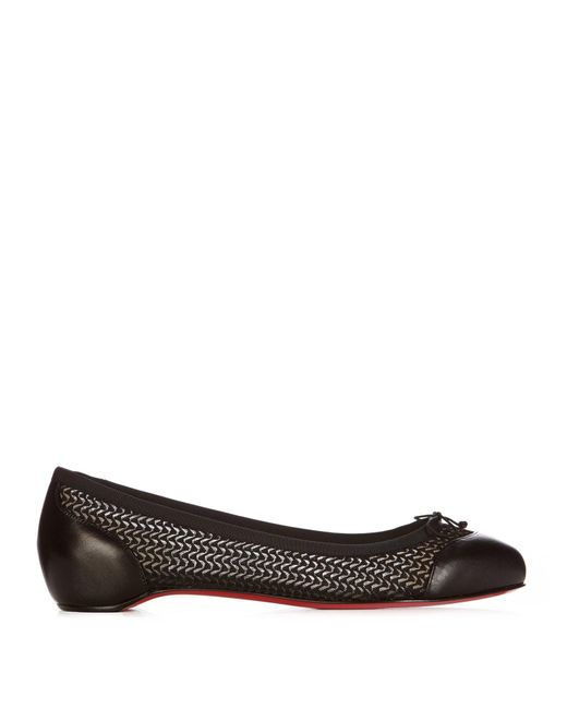 Christian Louboutin - Black Miss Mix Mesh And Leather Flats - Lyst