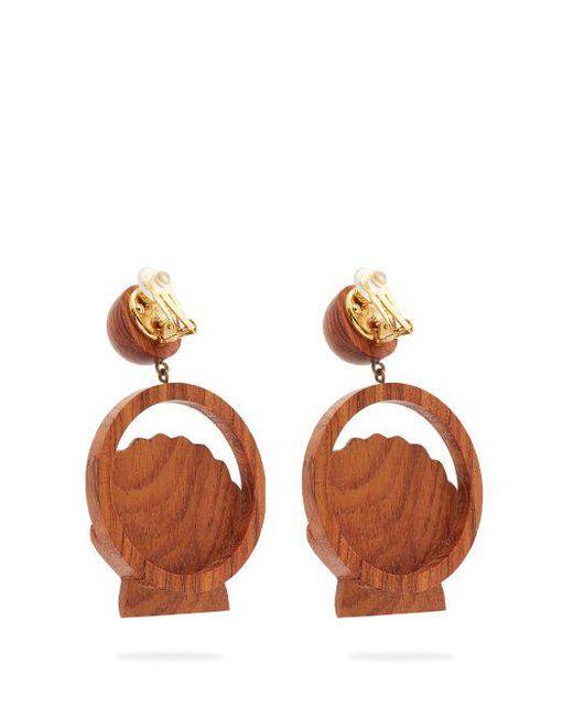 Rebecca de Ravenel Venus wood clip-on earrings ZvT51LVO