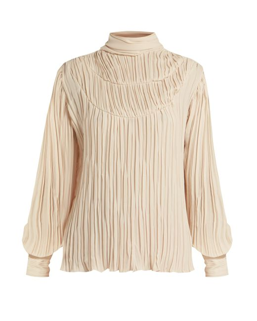 Johanna Ortiz - Natural Martina Cespedes Pleated High Neck Blouse - Lyst