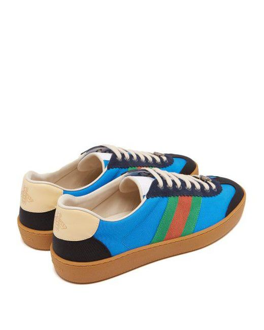 9554d820f9e8a ... Gucci - Blue Web Nylon And Suede Trainers for Men - Lyst