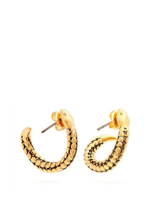Aurelie Bidermann - Metallic Snake Gold Plated Hoop Earrings - Lyst