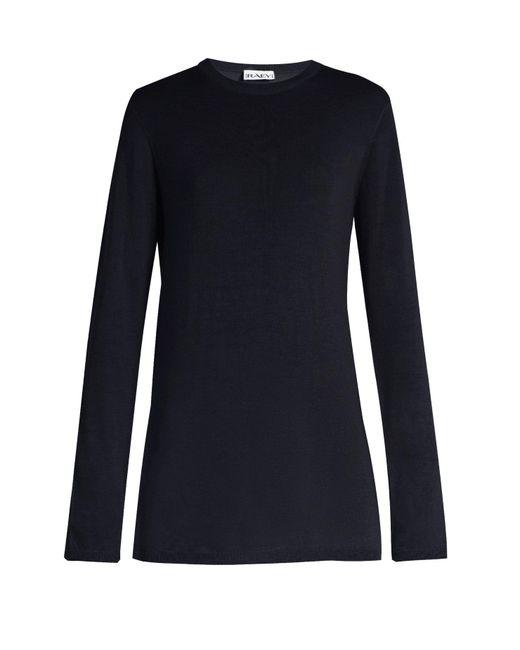 Raey - Blue Long Line Fine Knit Cashmere Sweater - Lyst