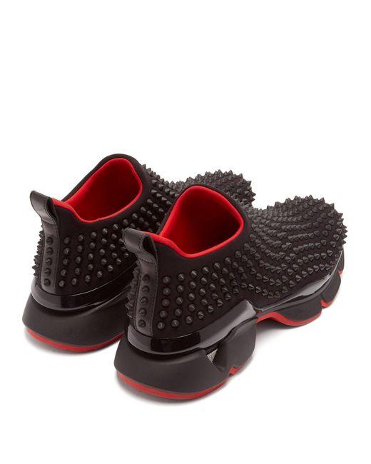 833cfa3c743b ... Christian Louboutin - Black Spike-sock Flat for Men - Lyst ...