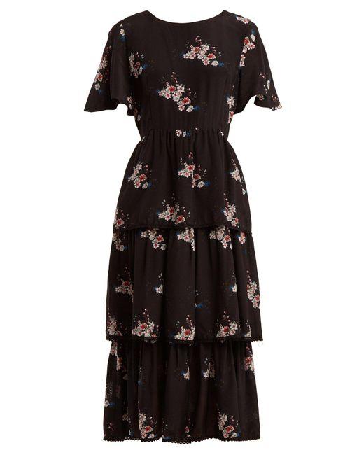 Athena Procopiou - Black Three Tier Floral Print Dress - Lyst ... f6edd3d4d