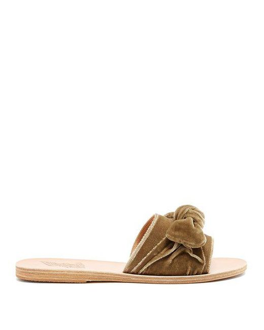 Ancient Greek Sandals - Multicolor Taygete Bow-embellished Velvet And Leather Slides - Lyst