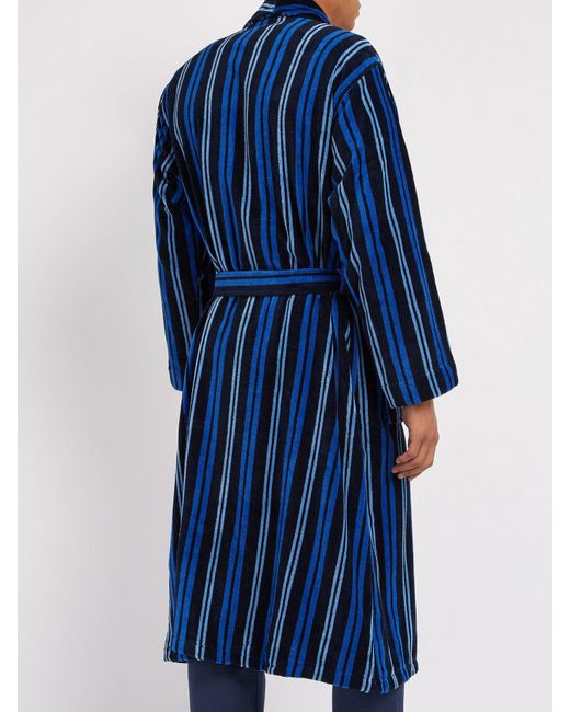 01966c6699 ... Derek Rose - Blue Aston Striped Cotton Robe for Men - Lyst ...