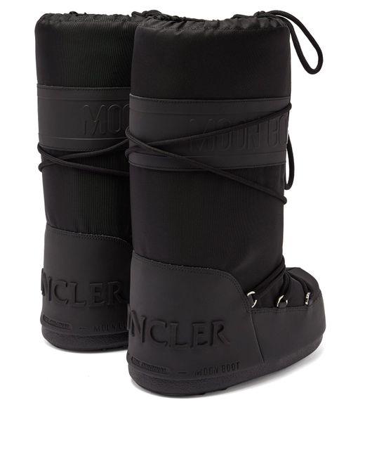 b332236a8fc5 Lyst - Moncler X Moon Boot® Venus Shearling Aprés Ski Boots in Black