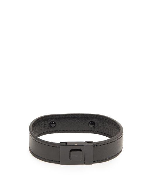Saint Laurent | Black Logo-engraved Leather Bracelet for Men | Lyst