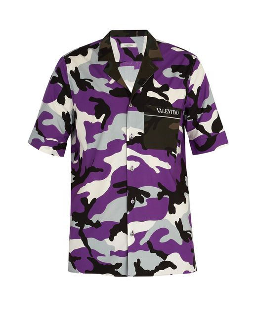 Valentino - Purple Camouflage Print Cotton Shirt for Men - Lyst