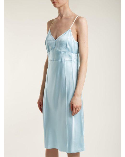 helmut lang v neck satin slip dress in blue lysthelmut lang blue v neck satin slip dress lyst