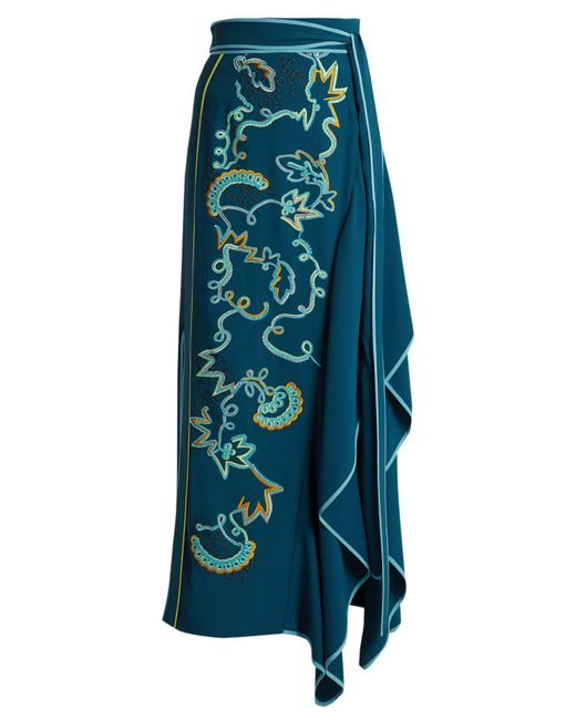 Peter Pilotto - - Embroidered Asymmetric Crepe Cady Skirt - Womens - Blue Multi - Lyst