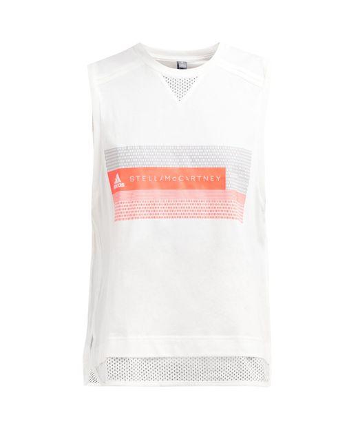 905b3581bd7a6 Adidas By Stella McCartney - White Logo Print Cotton Blend Jersey Tank Top  - Lyst ...