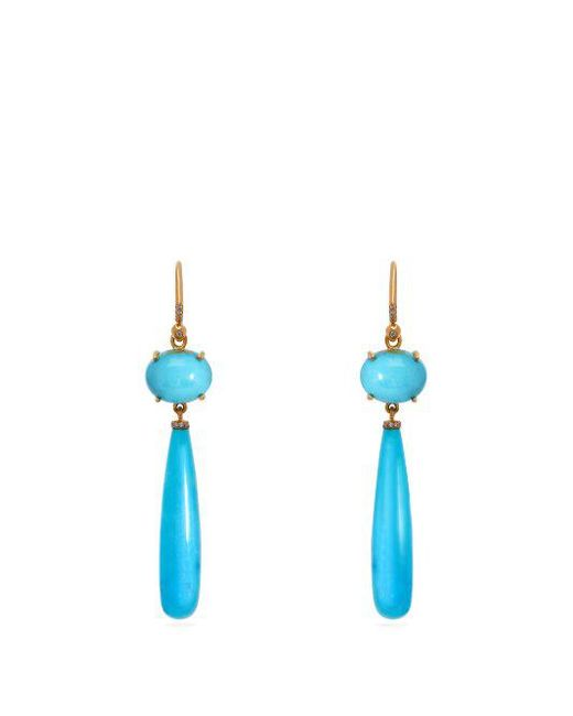 Irene Neuwirth - Blue 18kt Gold, Diamond & Kingman Turquoise Earrings - Lyst