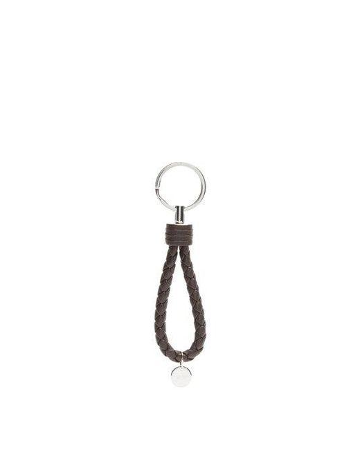 Bottega Veneta - Brown Intrecciato Leather Key Ring - Lyst