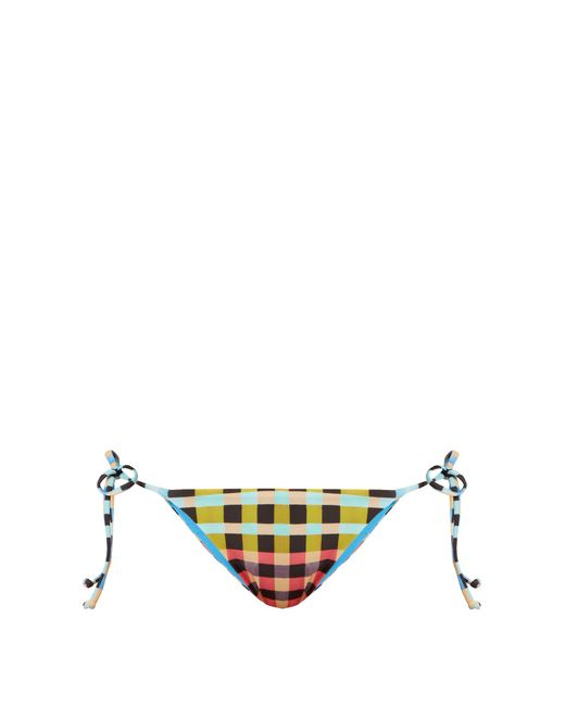 Mara Hoffman | Multicolor Plaid Mustard-print Tie-side Bikini Briefs | Lyst