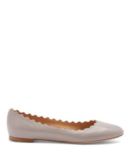 Chloé - Gray Lauren Scallop-edged Leather Flats - Lyst