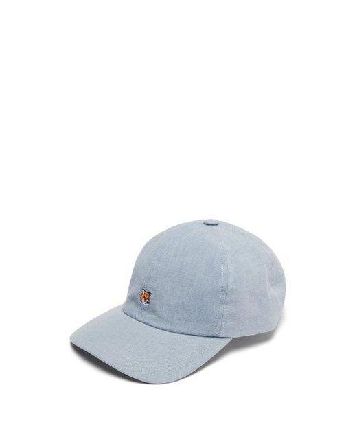 Maison Kitsuné - Blue Denim Fox-embroidered Baseball Cap for Men - Lyst ... 192047fb28af