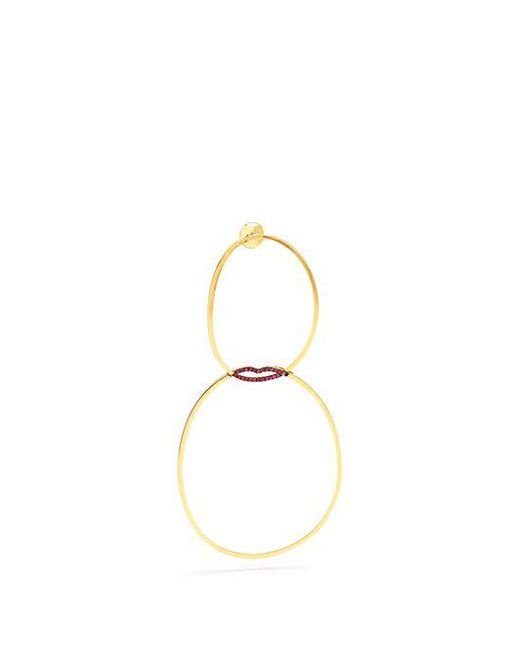 Delfina Delettrez - Metallic - Ruby & Yellow Gold Single Earring - Womens - Gold - Lyst