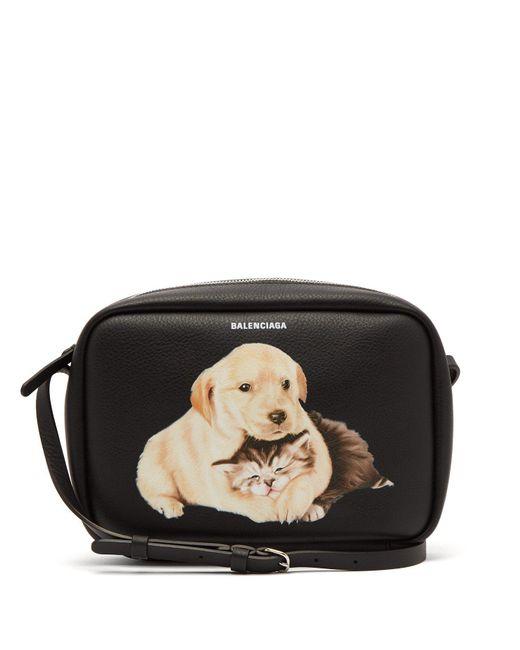 Balenciaga - Black Everyday Camera Xs Animal-print Cross-body Bag - Lyst