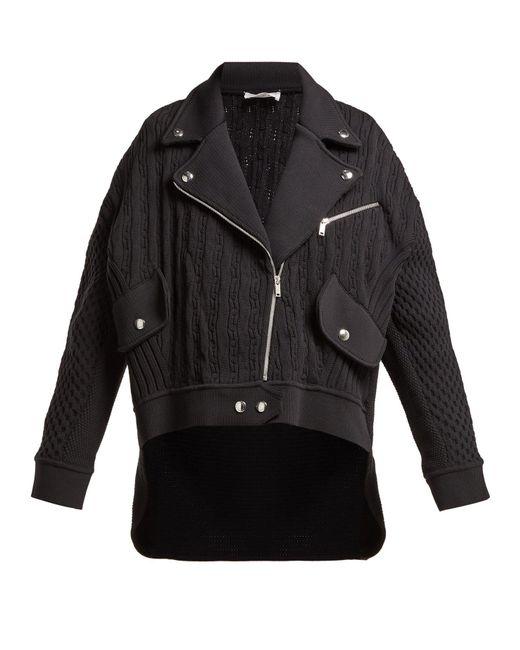 Sonia Rykiel - Black Cable-knit Biker Cardigan - Lyst