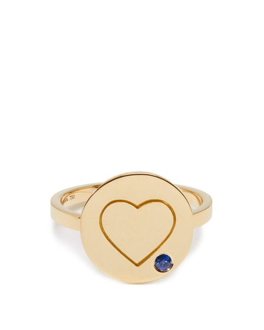 Aurelie Bidermann - Metallic Heart Sapphire & Yellow-gold Ring - Lyst
