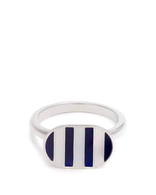 Jessica Biales | Blue Enamel & Sterling-silver Ring | Lyst