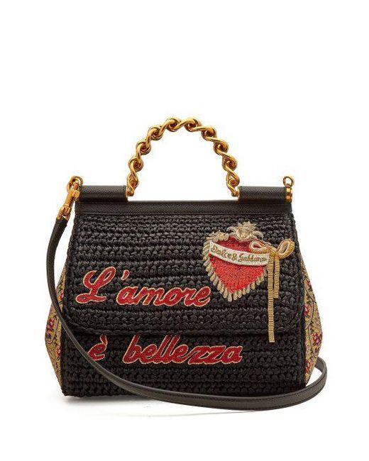 Dolce & Gabbana Sac Embelli Sicile Amor Vente Boutique Jeu Style De Mode Jeu 100% Authentique Prix Pas Cher En Ligne kWXAFB