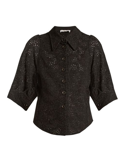 Chloé | Black Broderie-anglaise Point-collar Shirt | Lyst