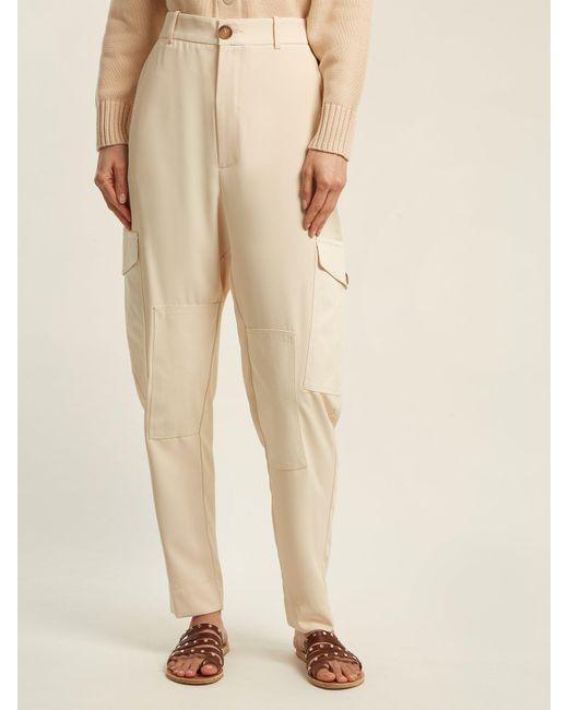 Chloé Pantalon cargo en sergé stretch taille haute l8H9zi