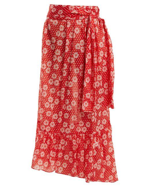 Lisa Marie Fernandez - Red Nicole Floral Print Asymmetric Hem Skirt - Lyst