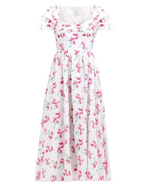 13d8f8f2f4 Gül Hürgel - Pink Poppy Print Cap Sleeved Linen Midi Dress - Lyst ...
