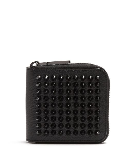 Christian Louboutin | Black Panettone Spike-embellished Square Leather Wallet | Lyst