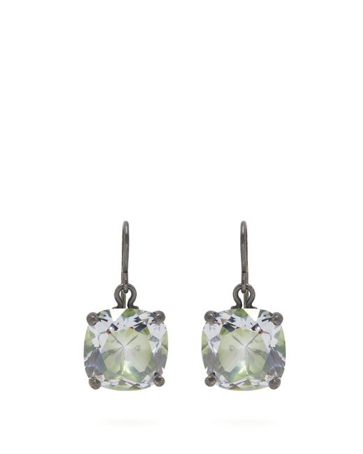 Bottega Veneta - Green Cubic-zirconia Drop Sterling-silver Earrings - Lyst