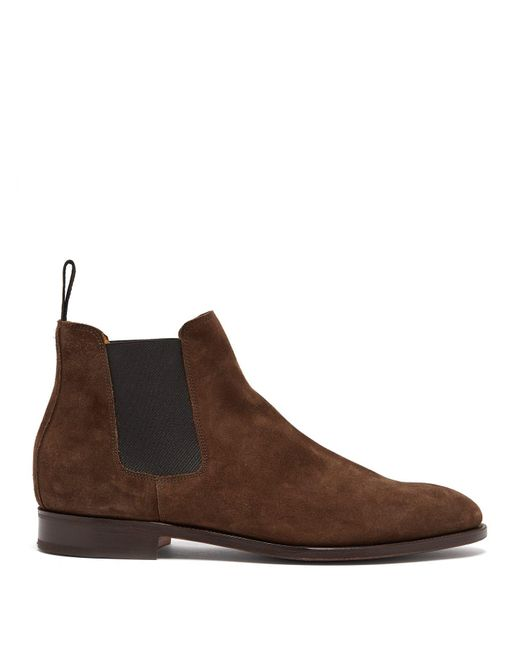 John Lobb - Brown Lawry Suede Chelsea Boots for Men - Lyst
