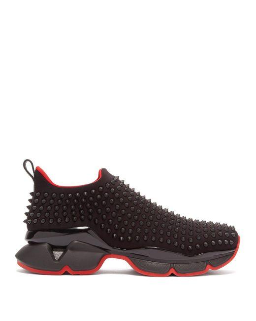 48c3aeaab481 ... Christian Louboutin - Black Spike-sock Flat for Men - Lyst ...