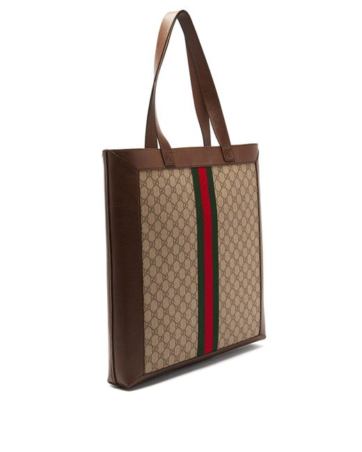 bad10968fbc ... Gucci - Natural Gg Supreme Leather And Canvas Tote for Men - Lyst ...