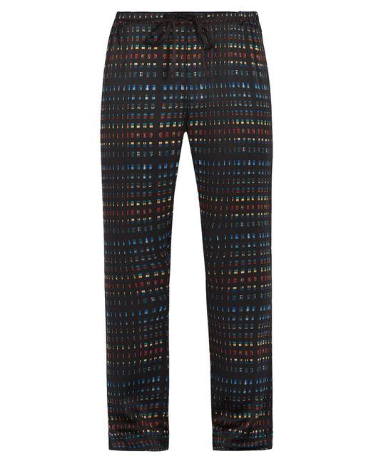 Meng   Black Rectangle-print Silk-satin Pyjama Trousers for Men   Lyst