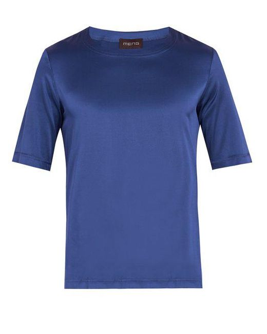 Meng - Blue Crew-neck Silk-satin Pyjama Top for Men - Lyst