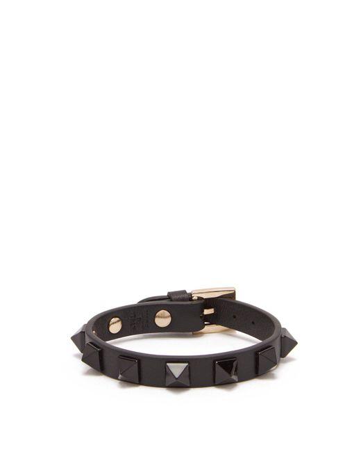 Valentino - Black Rockstud Leather Bracelet - Lyst