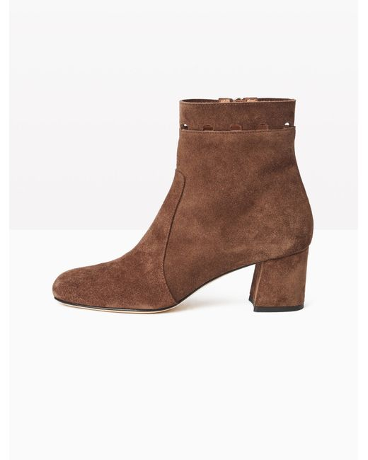 max co leather ankle boots with cut out in brown lyst
