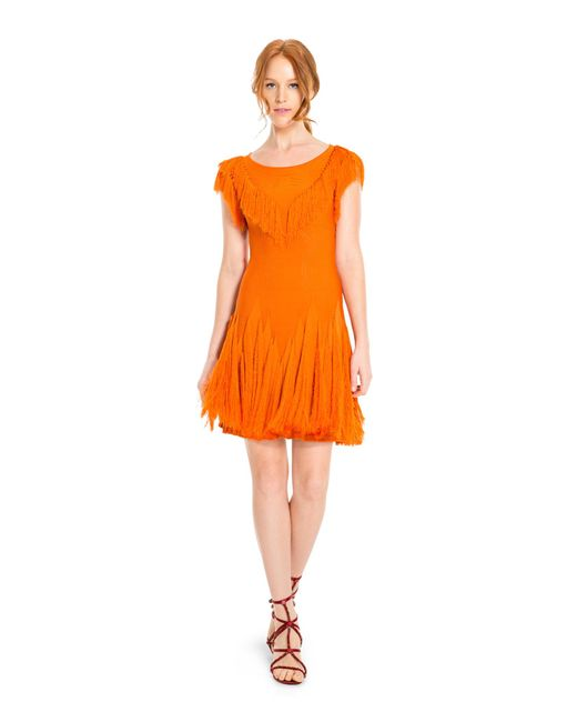 Leon Max - Orange Short Sleeved Fringed Sweater Dress - Lyst