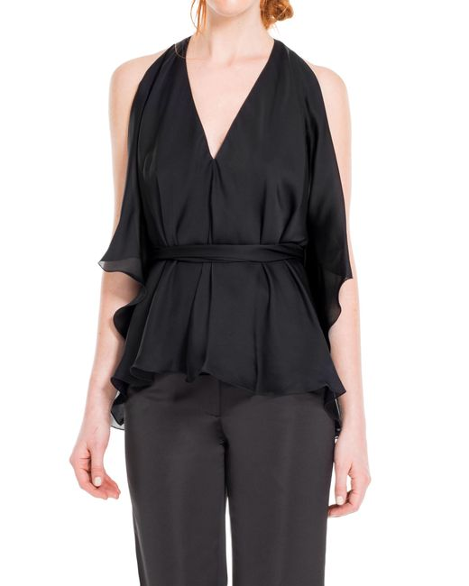 Leon Max | Black Silk Charmeuse Tie-fronted Blouse | Lyst