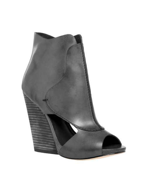 Leon Max - Black Eagle : Waxed Leather High Heel Wedge Peep Toe Booties - Lyst