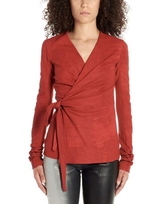 Rick Owens Red Leather Outerwear Jacket