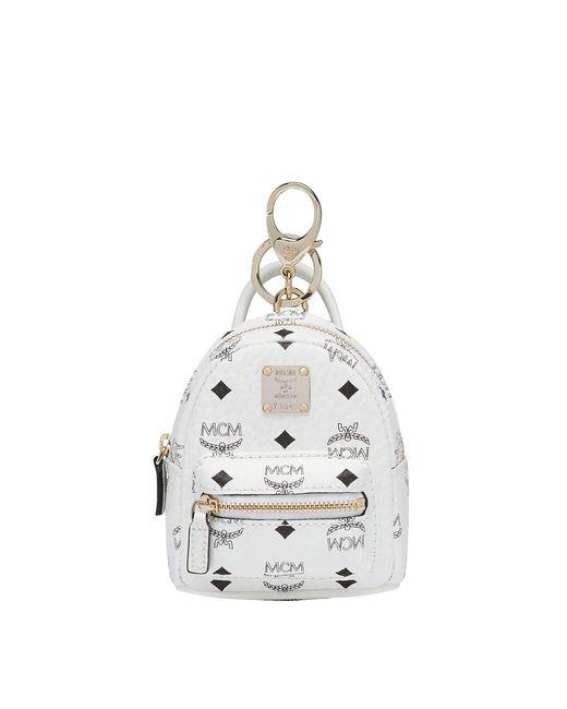 MCM - White Stark Backpack Charm In Side Studded Visetos for Men - Lyst