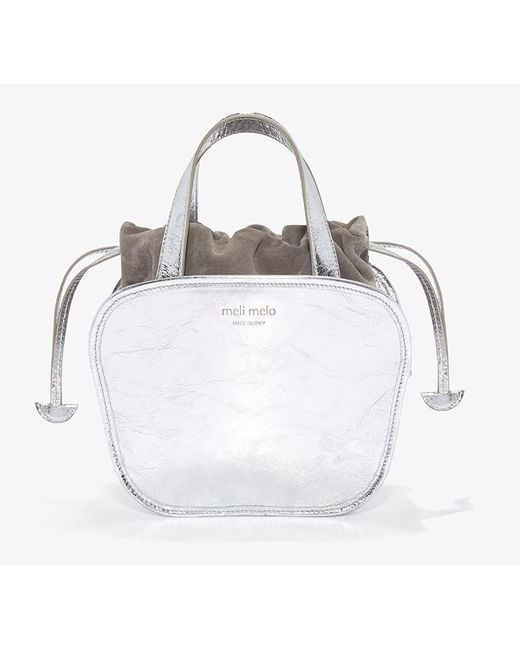 Meli Melo - Metallic Rosetta | Cross Body Bag | Silver - Lyst