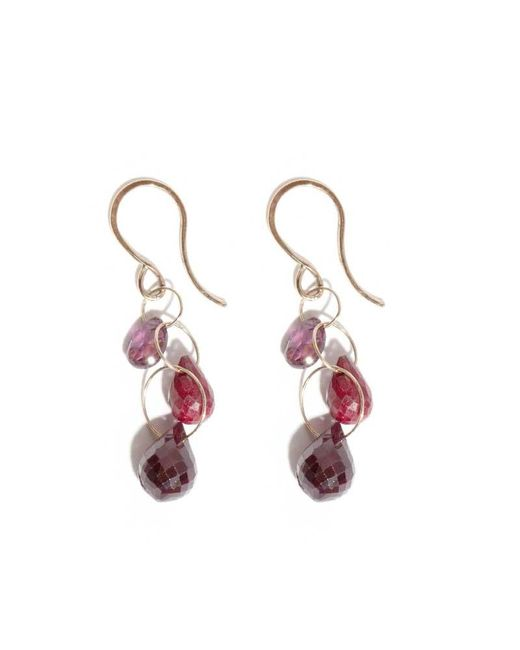 Melissa Joy Manning | Purple Ruby And Garnet Three Drop Earrings | Lyst
